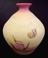 Fenton Glass Burmese 1985 Connoisseur Vase Underwater Shell & Sea Horse Motif
