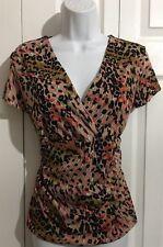 GEORGE Pink Tan Black Stretch Knit Top Shirt MEDIUM LARGE Cheetah Leopard Print