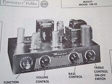 MASCO CM-10 TUBE AMP AMPLIFIER PHOTOFACT
