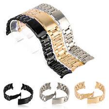 18/20/22/24mm Bracelet Montre Acier Inoxydable Recourbé Bande Boucle Déployante