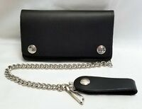 "Black Leather Biker Trucker Wallet 6"" x 3.5"" With 12"" Chain MADE IN USA"