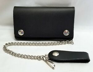 """Black Leather Biker Trucker Wallet 6"""" x 3.5"""" With 12"""" Chain MADE IN USA"""