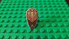 Lego Hobbit LOTR Minifig Shield Weapon Ovoid w/ Dark Brown & Gold Pattern