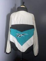 Vintage Reebok Logo Windbreaker Jacket Men's Large Black and White Full Zip.