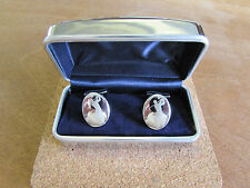Golf Cufflinks Rodium plated Silver coloured