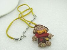 Vintage 3-D Molded Red Scarecrow Necklace on Yellow Suede, 20""
