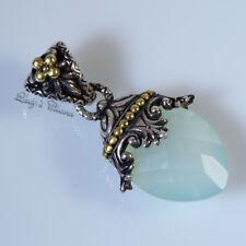 Barbara Bixby Chalcedony Sterling Silver 18K Gold Enhancer Pendant