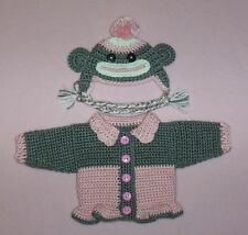 """American Girl Doll Clothes Pink Sock Monkey Sweater Hat Fits American Girl 18"""""""