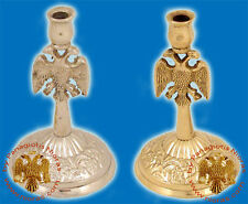 Traditional Orthodox Eagle Design Candle Stand Bronze Or Nickel Kerzenhalter