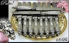 Antique French Sterling Dinner Knife Set 18 PC Angels!