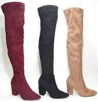 Steve Madden Rational Over the Knee Thigh High Heel Boots Tan / Burgundy / Black