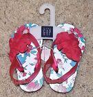 Baby Gap Girl's Pink Floral Rosette Flip Flop Sandals Shoes Size 6 Toddler NWT