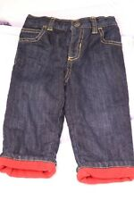 Old Navy Baby Boys Size 12-18 Months Dark Fleece Lined Denim Jeans Elastic Waist