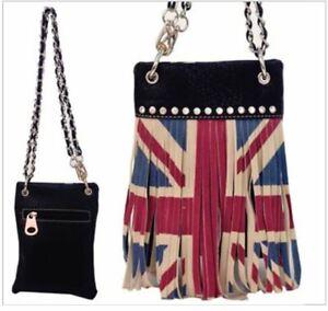 British Flag Western Mini Messenger Cross Body Waist Purse Should Bag Black
