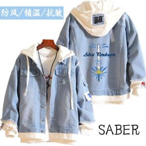 Anime Fate/Grand Order Unisex Long Sleeve Hoodie Sweatshirt Denim Jacket Coat#M4
