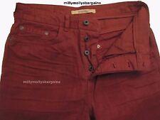NUOVA linea uomo Marks & Spencer Arancione Jeans Dritti Vita 30 Gamba 33 etichetta guasto