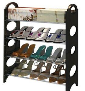 4 Tier Stackable Shoe Rack Storage Organiser Stand Shelf