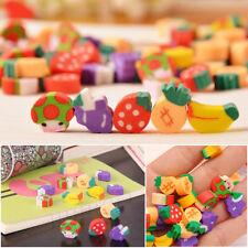 50PCS Kids Students Cute Novelty Mini Fruit Pencil Rubber Erasers Stationery