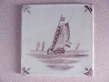 "Dutch Makkum DELFT TILES GRAPE COLOR 5"" Makkum VTG Delft Folk Art Plaque 2Tiles"