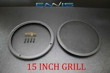 (1) 15 INCH STEEL SPEAKER SUB SUBWOOFER GRILL FINE MESH W/ CLIPS SCREWS GT-15