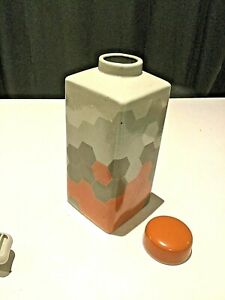 LARGE  ALMAFI ORANGE AND GREYS MODERN VASE ERN/JAR/HOME DECORE
