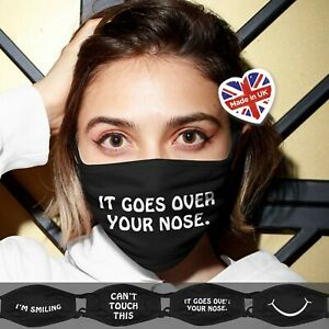 It Goes Over Your Nose Face Mask / Face Covering Unisex / Reusable Washable