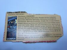 Cobra Stinger Driver Gray Back File Card 1984 Gi Joe Vintage WD