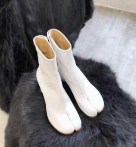 US Chic Womens Tabi Split Toe Bootie Block Heel Side Zip Ankle Boots Shoes