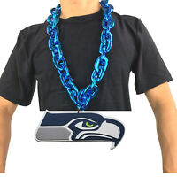 New NFL Seattle Seahawks Blue Fan Chain Necklace Foam Magnet - 2 in 1