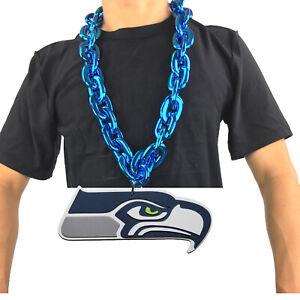 New NFL Seattle Seahawks Blue Fan Chain Necklace Foam Magnet - 2 in 1