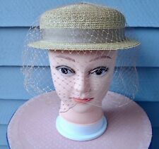 "Vtg Straw Hat W/ Veil, Ribbon. 21"" Inside Circum. ""Madcaps"". Very Fine Condition"