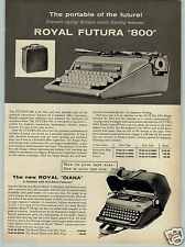 1961 PAPER AD Royal Futura 800 Portable Typewriter Diana Smith Corona Galaxie