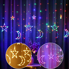 3.5m Star Moon Fairy LED Curtain String Lights Garland Wedding Party Decor Lamp