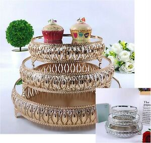 Gold Electroplate Cake Stand Silver Set Display Wedding Birthday Party