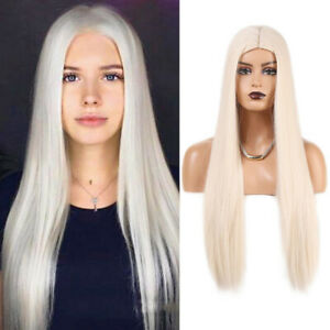 Platinum Blonde Long Straight Synthetic Wig for Women Heat Resistant Middle Part