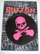 "PINK SKULL with GUITARS  3"" Button (KA3R208)"