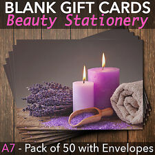Gift Voucher Card Massage/Beauty/Spa/Holistic Salon - x50 + FREE Envelopes CAN