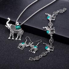 Wholesale Retro Blue Turquoise Elephant Pendant Necklace Earrings Bracelet Set