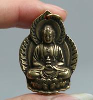 "1.5"" Curio Chinese Bronze Buddhism Shakyamuni Menla Medicine Buddha Pendant"