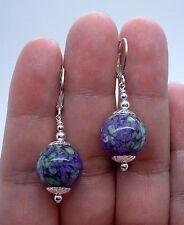 Silver Earrings - Leverbacks A0312 Smooth Bold Violet Purple Jasper Sterling