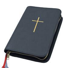 Großdruck Gotteslob Hülle Gotteslobhülle Leder anthrazit schwarz mit Kreuz gold