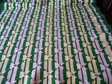 "VTG Handmade Crochet Afghan Throw Blanket Green Yellow Fringed Raised Braid 58"""