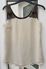 Oasis Embellished Gold Beaded & Studded Natural Nude & Black Vest Top Size 8