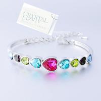 Genuine Heart Swarovski Crystals 18k White Gold Plated Bangle Bracelet Gift Girl