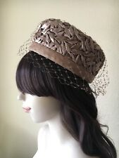 Vintage 50s 60s Arnold Constable Mocha Straw Pillbox Hat w/ Tulle Net Short Veil