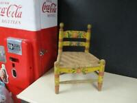 OLD VINTAGE CHILD MEXICAN CHAIR PAINTED FOLK ART BATEA TOLE WOVEN SEAT