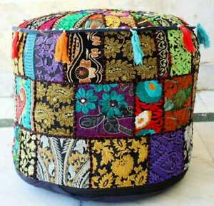 Black Patchwork Pouf Cover Moroccan Footstool Vintage Seating Ottoman Pouf Cover