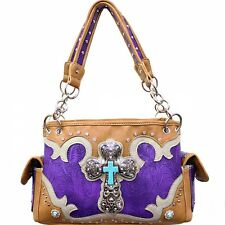 Purple and Tan Tooled Concealed Carry Western Cross Handbag
