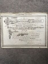 William Lawrence & Co 1910 5 Shares Invalid Share Certificate