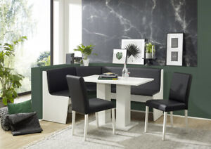 New STYL WHITE Corner Eckbank Kitchen Dining Seating Bench Table + 2 Chairs